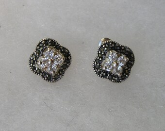 Pretty Sterling Marcasite and Cubic Zirconia Earrings