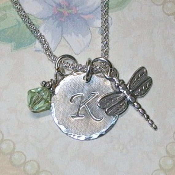 Dragonfly Necklace, Dragonfly Hand Stamped Sterling Silver Initial Charm Necklace, Personalized Dragonfly Necklace, Dragonfly Jewelry