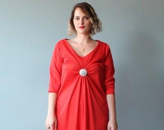 SALE plus size dress / plus size maxi dress / 1970s / XXL