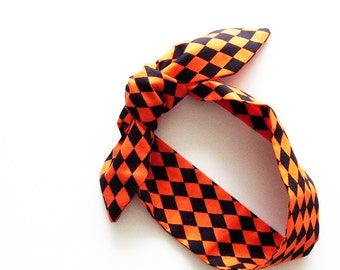 Orange Black Harlequin Head Scarf / Multipurpose Halloween Neck Tie, Handbag or Walker Adornment, Pet Neckerchief / Rockabilly Gift Under 25