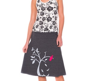 Unique Gift for Women, Plus size cotton skirt, Mid length A-line skirt, Dark gray applique skirt-The bird and the falling leaves