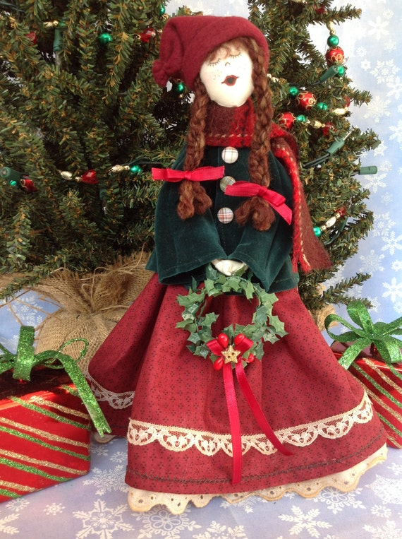 Mailed Cloth Doll Pattern 12in Victorian Christmas Girl Caroler