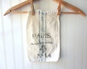 Hand stamped and stenciled Paris feedsack vintage sugar sack bag 11 x 7 cotton gift bag No 14 French Farmhouse