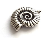 2 pcs- Matte Silver Plated Spiral helezon pendant- 35x25mm-(405-038SP)