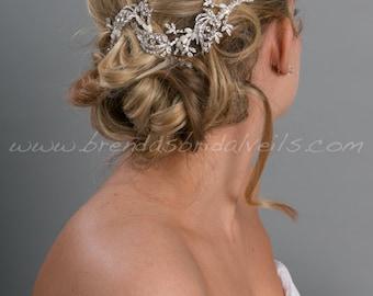 Rhinestone Hair Vine, Bridal Pearl Headband, Rhinestone Leaf Headpiece - Zandra