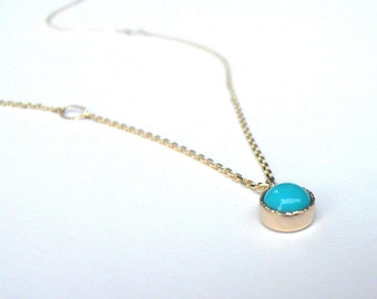 Mimi Nena Turquoise Necklace, Handmade with Recycled Gold, December Birthstone Necklace, Anniversary Gift for Her