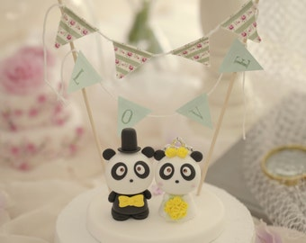 Panda wedding cake topper---k904