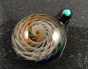 Glass Vortex Implosion Pendant with White trillion cut Opal on bail --- Majestic Glass Arts ---