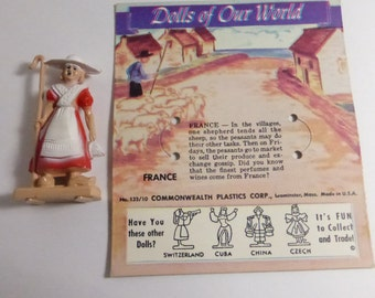 Vintage Mid Century Dolls of Our World France Doll and Card