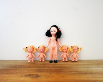 vintage 80s Set of 5 Plastic Girl Craft Dolly Group // Deadstock Crafting Supplies  // Brunette & Blonde