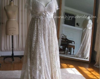 Hippie Lace Collage XL Champagne Lace Wedding Dress Boho Wedding Gown Rustic wedding Dress