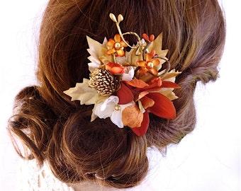 fall hair clip, rust orange hair flower, ivory hair clip, fall hair accessories, orange and gold, rustic hair comb, floral hair piece