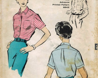 1950s Advance 8841 Vintage Sewing Pattern Misses Sports Shirt, Blouse Size 14 Bust 34