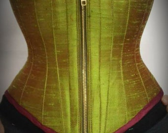 SAMPLE Pesto Green Silk Underbust Corset - Steampunk- Iredescent Wine Green Steel bonded Wasit Training- READY to ship Small