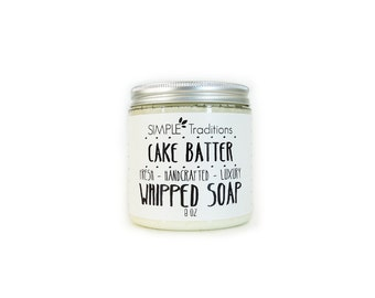 Soap in a Jar | Fluffy Whipped Soap | Whipped Soap | Cake Batter Soap | Vegan Whipped Soap | 8 oz  | Luxury Soap | Best Seller