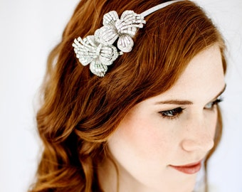 ADDIE - Crystal Bridal Headband Orchid - Flower - Double