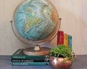 RESERVED for Leslie // vintage Repologe World Ocean Globe on stand