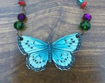 Natural Whimsy Necklace: butterfly beaded necklace