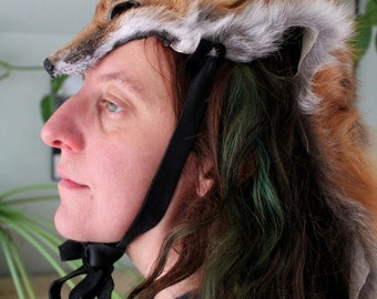 Triple kitsune fox headdress by Lupa - full hide red fox headdress with three tails totem dance costume for shamanic ritual and dance