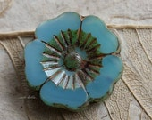 LAGOON PANSY No. 4 .. 1 Picasso Czech Glass Flower Beads 22mm (5251-1)
