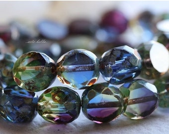 ROYALTY SLABS .. 6 Picasso Czech Table Cut Glass Beads 12mm (4951-6)