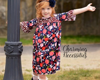 Toddler Girl Clothes, Girls Fall Dress, Curved Yoke Dress LONG or SHORT sleeves, Midnight Garden by Charming Necessities Back to School