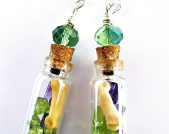 Glass Vial Specimen Tiny Bottle Earrings Coyote Peridot Amethyst Crystal Talisman Pagan Priestess Fashion BONE GODDESS by Spinning Castle