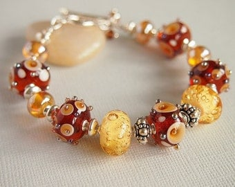 Amber Golden Yellow Lampwork Bracelet, Artisan Lampwork Glass Beaded Bracelet, Sterling Silver - BUTTER TOFFEE