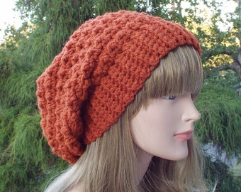 Pumpkin Orange Crochet Hat, Womens Slouchy Beanie, Slouchy Hat, Oversized Slouch Beanie, Chunky Hat, Winter Hat, Slouch Hat