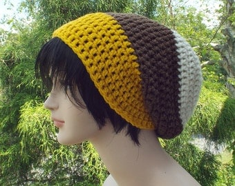 Mens Slouchy Beanie, Cream Brown Yellow Crochet Hat, Slouchy Hat, Oversized Slouch Beanie, Chunky Hat, Baggy Beanie, Winter Hat, Slouch Hat