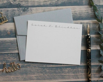 Simple Personalized Stationery Set | Custom Stationary Set |  Elegant Black and White| Custom Note Card Gift Set | Sarah