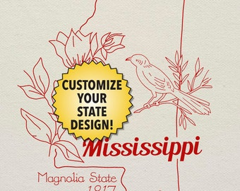 Mississippi Customizable Hand Embroidery Pattern - digital PDF of line art motifs to stitch your own personalized state project