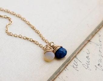 Lapis Lazuli Necklace, Lapis Lazuli, Lapis Pendant, Cobalt Gemstone, Gemstone Necklace, Gold Necklace, Ethiopian Opal, PoleStar, Ra