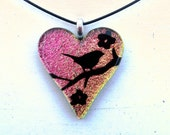 Fused Glass Heart Bird In Branch Necklace Pendant Pink Yellow