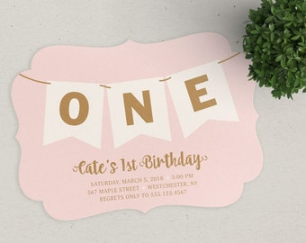 1st Birthday Banner Invitation