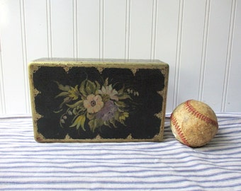 Vintage Shabby Florentine style wood box wooden box with lid  Black silver floral painted Italy