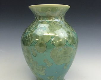 Emerald Green Crystalline Glazed Vase
