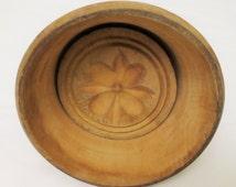 Antique Hand Carved Wood Butter Stamp/ Vintage Flower Butter Mold