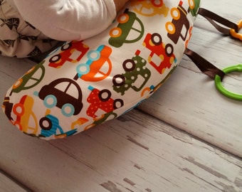 Organic Tummy Time Pillow, Cars