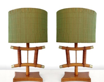 1950s Pair of Rattan Table Lamps TIki Mid Century Asain Modern