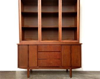 Summer Sale Walnut Stanley 2 Piece Hutch Cabinet Mid Century Modern