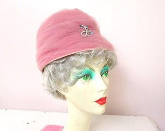 1960s Abbye' Pale Pink Tulle Jewel Hat