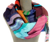 Nat | Handwoven Sapphire, Tangerine & Aubergine Scarf | Modern Woven Women's Fashion | Rainbow Gifts for Her | Colorful Striped Accessory