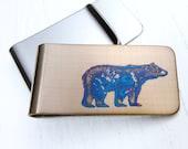 BEAR MONEY CLIP  -  Animal Money Clip  - Woodland  - Gifts for Men - Canada - Gold