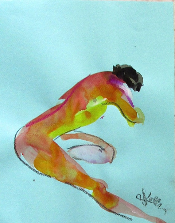 Nude painting of One minute pose 90.5  Original painting by Gretchen Kelly