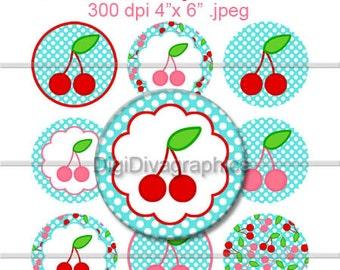 Cherry Girl Spring Bottle Cap Images 1 Inch Circles Digital JPG - Instant Download - BC1006