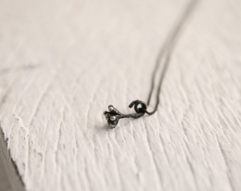 Sterling silver seed necklace-Oxidized nature pendant-Botatical jewelry-Delicate pendant under 55
