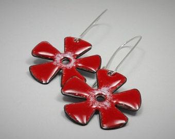 Enamel Flower Earrings, Red Enamel Flower Earrings, Red Earrings, Enamel Earrings, Flower Earrings, Whimsical Earrings, Dangle Earrings 075