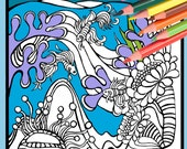 Underwater Beach Scene Angel Fish Coloring Page - Digital Download from A Colorful World Surf & Sun Adult Coloring Alexine and Lori Goldwag