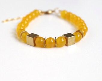 Bracelet: Yellow Jade and Brass Tubes